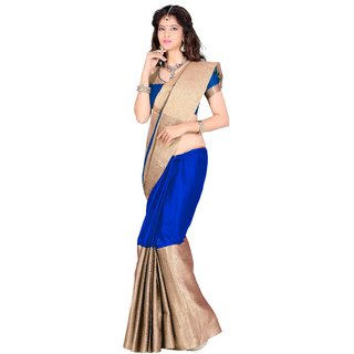 kanak new designer blue color cotton saree