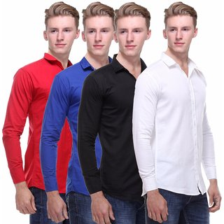 Red Code Men's Multi Color  Casual Shirt Pack of 4