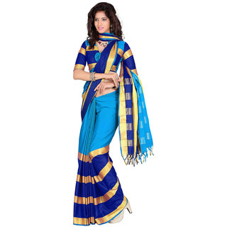 kanak new designer blue color cotton saree