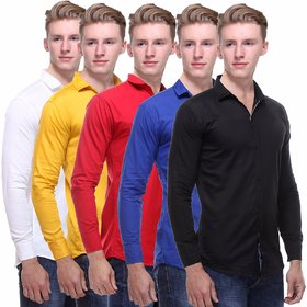 Red Code Men's  Regular Fit Casual Poly-Cotton Shirt