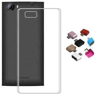 Soft Transparent TPU Back Cover with Micro USB OTG Adaptor for Reliance Jio LYF Wind 4