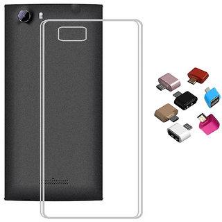 Soft Transparent TPU Back Cover with Micro USB OTG Adaptor for Lava V5