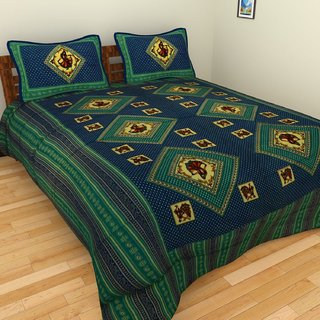 Craftszilla Blue Print Cotton Double Bedsheet With 2 Pillow Covers