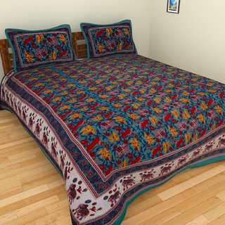 Craftszilla Green Print Cotton Double Bedsheet With 2 Pillow Covers