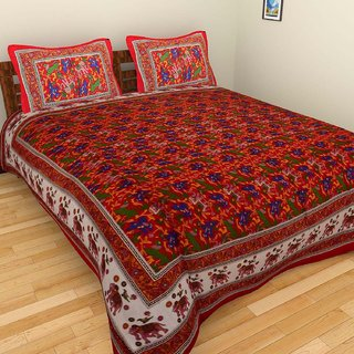 Craftszilla Red Print Cotton Double Bedsheet With 2 Pillow Covers