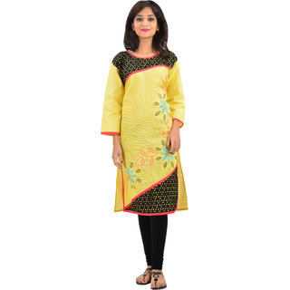 Stylezing Yellow Plain Linen Stitched Kurti