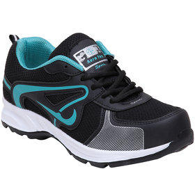 Aerofax Mens black c green lace up running shoes