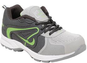 Aerofax Mens light gray p green lace up running shoes