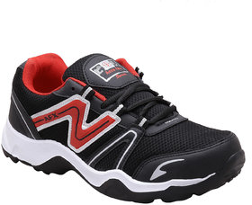 Aerofax Mens black red  lace up running shoes