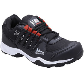 Aerofax Mens black red  p green lace up running shoes
