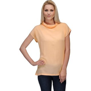 Curvy Q Gold Round Neck Printed Top For Women