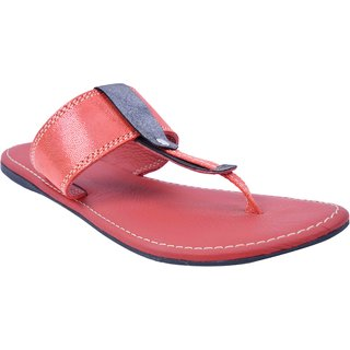 77cd18e84e478d Red Color Leather Flat Sandals for Women s - SWANSIND