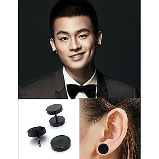 Double Sided Round Barbell Stainless Steel Black For Men Women Unisex Earrings 1 Pair CODEPI-0020