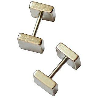 Double Sided Squar Barbell Stainless Steel Silver For Men Women Unisex Earrings 1 Pair CODEPA-3437