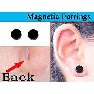 Magnetic Ear Stud Round Black For Men Women Unisex Fashion Stylish Earing 1 Pair CODEPm-4312
