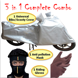 3 in 1 Complete Combo of Bike Cover , Pollution Mask , Ridding Gloves CODEPx-2795