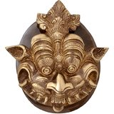 Brass Dragon Face Door Knocker With Plate Base