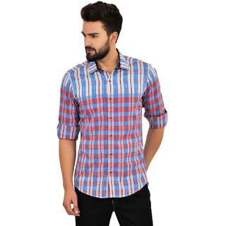 Blue Buddha Men's Cotton Red Full Sleeve Shirt