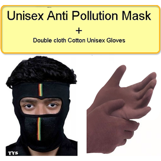 Unisex Anti-Pollution Mask + Double Cloth Cotton Unisex Gloves CODEPK-7074