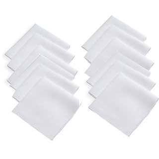 12 Piece 100 Cotton Men's Handkerchiefs (White)