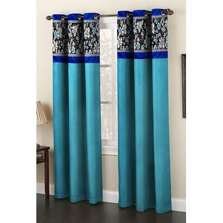 India Fusion Polyester Door Curtain   7ft, Aqua Blue