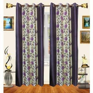 Purple Floral Long Door Curtain 9ft - 1Pc