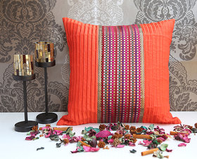 ANS Orange cushion cover with multicolor dots brocade.