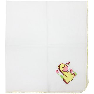 WONDERKIDS COTTON WRAPER WHITE  WITH YELLOW BORDER & HORSE PRINT