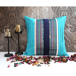 ANS Teal cushion with broad pleats and Navy pleated panel.