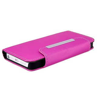 Glossy pink combination Leather Flip case cover for   5/5s