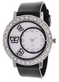 Glory Black Diamond Fancy Letest Butterfly Print Collection Analog Watch - For Women BY MISS