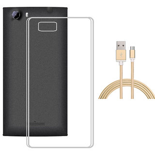 Soft Transparent TPU Back Cover with Golden Nylon Micro USB Cable for Oppo Neo 5
