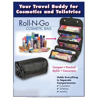 s4d Black Roll N Go 4 in 1 Travel Buddy Cosmetic Shaving Toiletry Bag Organizer
