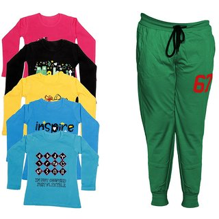 IndiWeaves Girls Combo Pack 6 (Pack of 5 Full Sleeves T-Shirts and 1 Lowers/Track Pant )Multicolor