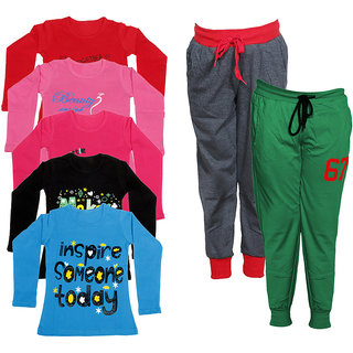 IndiWeaves Girls Combo Pack 7 (Pack of 5 Full Sleeves T-Shirts and 2 Lowers/Track Pant )Multicolor