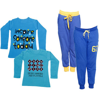 IndiWeaves Girls Combo Pack 4 (Pack of 2 Full Sleeves T-Shirts and 2 Lowers/Track Pant )Multicolor