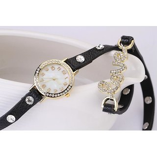 Round Dial Black Leather Strap Women Quartz Watch BY MISS