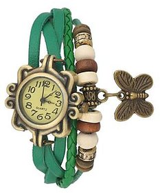 Round Dial Green Leather Strap Womens Quartz Watch By S