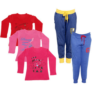 IndiWeaves Girls Combo Pack 5 (Pack of 3 Full Sleeves T-Shirts and 2 Lowers/Track Pant )Multicolor