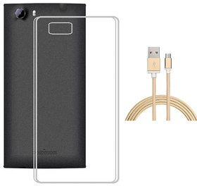 Soft Transparent TPU Back Cover with Golden Nylon Micro USB Cable for Coolpad Note 3 Lite