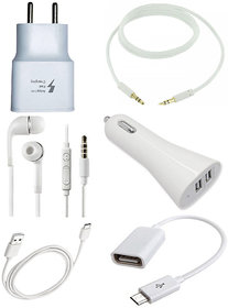 Combo of Car Charger, USB Charger, OTG, Data Cable, Earphone And Aux Cable
