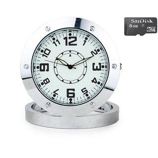 Spy Steel Table Clock Camera With 8GB Micro SD Card