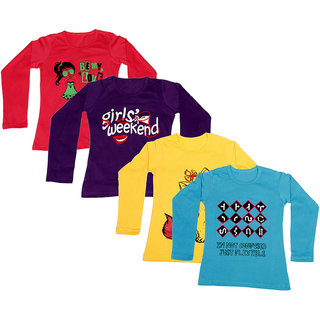IndiWeaves Girls Cotton Full Sleeve Printed T-Shirt (Pack of 4)Multicolor