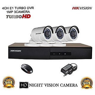 Hikvision CCTV Security System With Turbo DS-7204HGHI-E1 4CH DVR + DS-2CE16COT-IR HD Bullet Camera 3pcs Combo