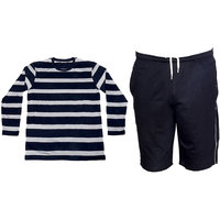 Indistar Mens 1 Cotton Full Sleeves T-Shirt and 1 Shorts/Barmuda Combo Offer (Pack of 2)Multicolor