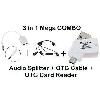 AUDIO SPLITTER + OTG CABLE + OTG CARD READER CODEPF-6136
