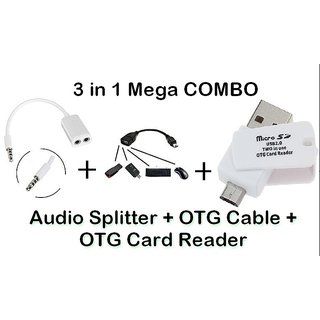 AUDIO SPLITTER + OTG CABLE + OTG CARD READER CODEPu-8198