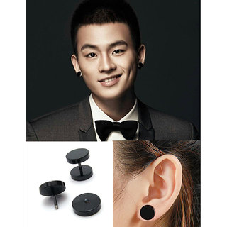 Double Sided Round Barbell Stainless Steel Black For Men Women Unisex Earrings 1 Pair CODEDh-5892