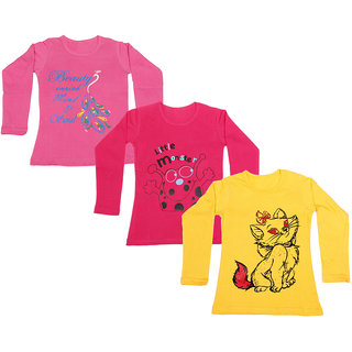 IndiWeaves Girls Cotton Full Sleeve Printed T-Shirt (Pack of 3)Multicolor