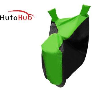 Autohub Premium Quality Bike Body Cover With Mirror Pocket For Yamaha Fz 16 - Black  Green Colour